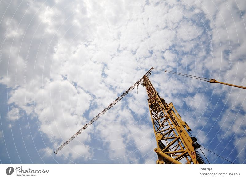 Blue Yellow Work and employment Growth Industry Construction site Technology Change Profession Strong Steel Company Economy Crane Career Competition