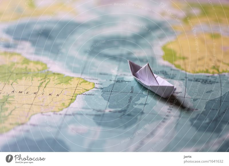 small journey Water Ocean Transport Navigation Cruise Driving Swimming & Bathing Vacation & Travel Paper boat Continents Map Americas Colour photo
