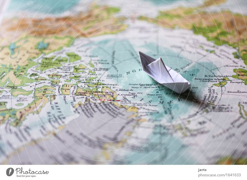 shipping Water Coast Ocean Navigation Cruise liner Swimming & Bathing Vacation & Travel Paper boat Arctic Ocean North Pole Map Atlas Globe Colour photo