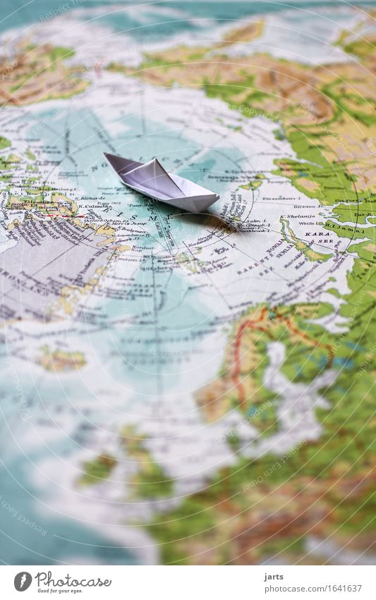 north pole Landscape Ocean Navigation Cruise Driving Swimming & Bathing Vacation & Travel Adventure Paper boat Arctic Ocean Globe Atlas Colour photo