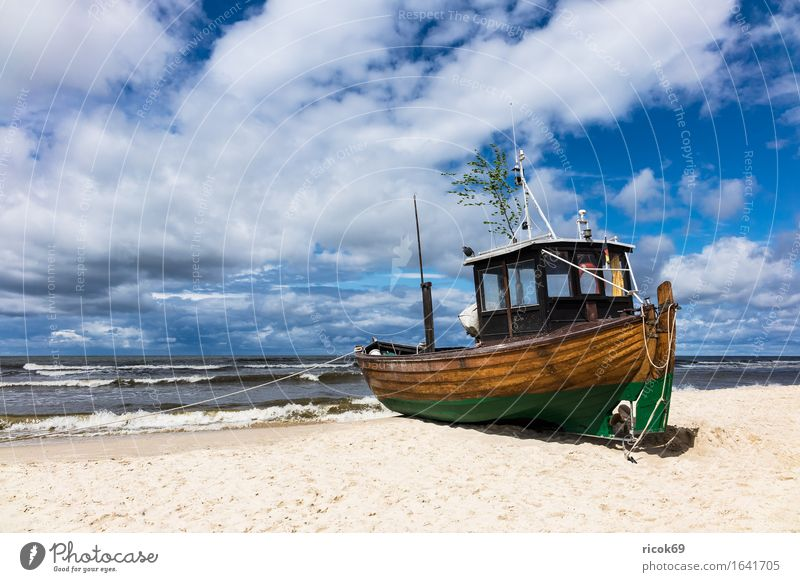 Fishing boat in Ahlbeck on the island Usedom Vacation & Travel Tourism Beach Ocean Nature Landscape Sand Clouds Coast Baltic Sea Watercraft Blue Romance Idyll