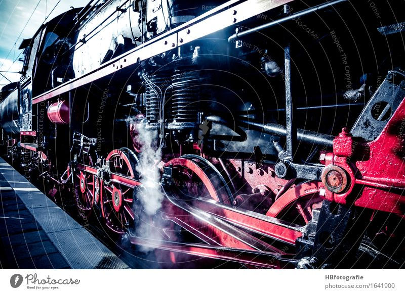 Black Transport Power Railroad Fire Logistics Wheel Passenger traffic Gigantic Steam Gearwheel Means of transport Engines Train travel Rail transport