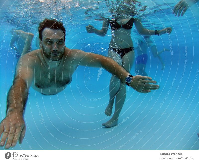 Outdoor Pool II Human being Masculine Feminine Body Group 13 - 18 years Youth (Young adults) 30 - 45 years Adults Summer Bikini Facial hair Hair Diet Dive