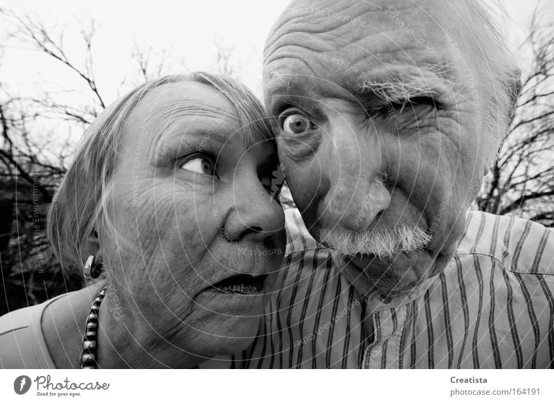 Crazy man and woman Human being Woman Man Face Adults Eyes Senior citizen Portrait photograph Masculine Black & white photo Wide angle 60 years and older Female senior Male senior Looking Perspective