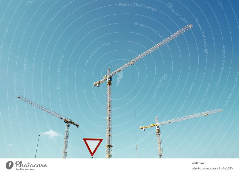Sky Blue Construction site Crane Road sign Trend-setting Change in direction Yield sign