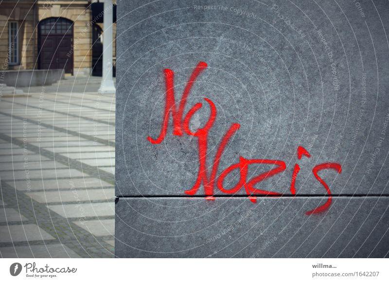 No Nazis Subculture no Nazis Chemnitz Characters Graffiti Politics and state Town Fascist Protest Gray Red Fascism Colour photo Exterior shot