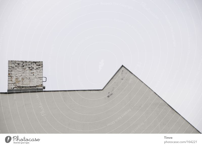 plain House (Residential Structure) Architecture Wall (barrier) Wall (building) Roof Chimney Uniqueness stonewalled Simple Point Sky Gray Facade bricks