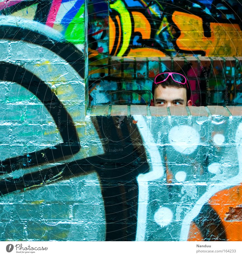 neon Colour photo Multicoloured Exterior shot Pattern Structures and shapes Day Lifestyle Style Joy Human being Masculine Young man Youth (Young adults) Man