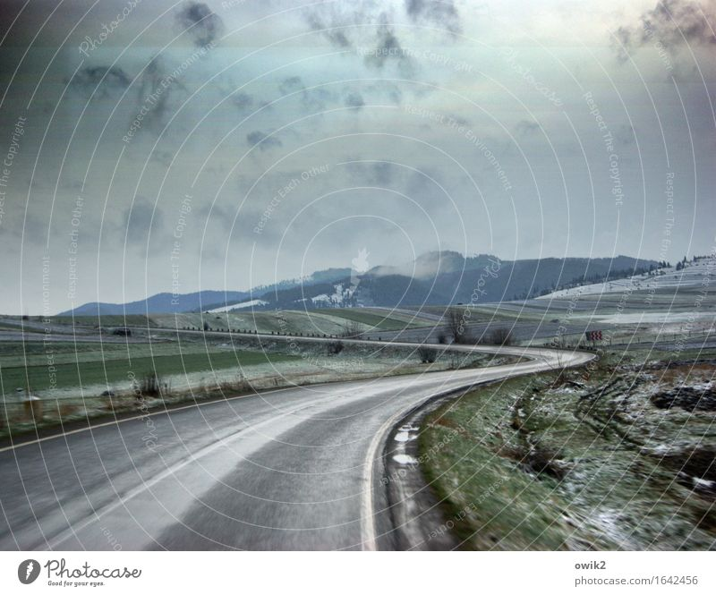 south curve Environment Nature Landscape Sky Clouds Horizon Climate Bad weather Carpathians Eastern Europe Romania Transport Traffic infrastructure Street Curve