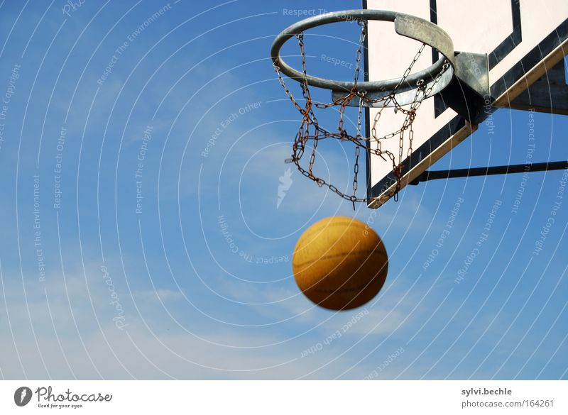 Sky Blue Sports Playing Brown Power Target To fall Silver Basket Strike Basketball Aim Accuracy Youth culture Determination