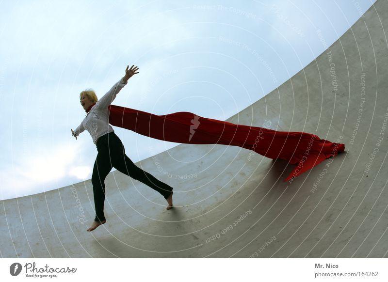 fly away Runway Flying Red Freedom Jump Joy Happy Cape superwoman Barefoot Ramp