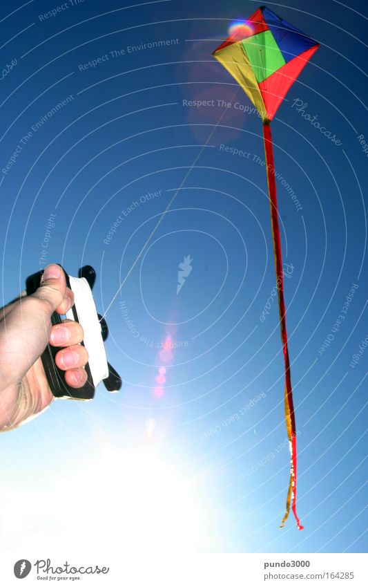 Nature Blue Hand Playing Air Wind Leisure and hobbies Flying Fingers To hold on String Beautiful weather Kite Aircraft