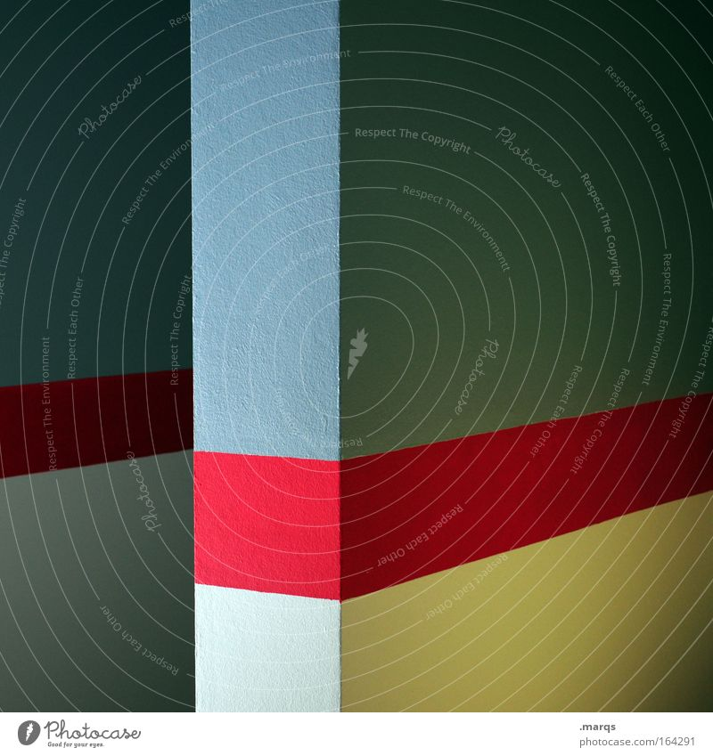 Blue Red Wall (building) Wall (barrier) Line Architecture Background picture Abstract Esthetic Corner Clean Stripe Illuminate Illustration Handbook
