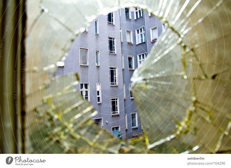 House (Residential Structure) Jump Window Architecture Glass Facade Round Broken Broken Hollow Transparent Window pane Crack & Rip & Tear Slice Destruction
