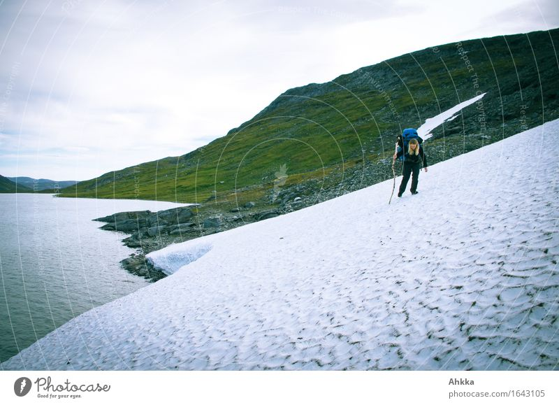 Young female hiker with rucksack and a wooden walking stick carefully crosses a glacier tongue in the Norwegian mountains on a steep slope Adventure Sports