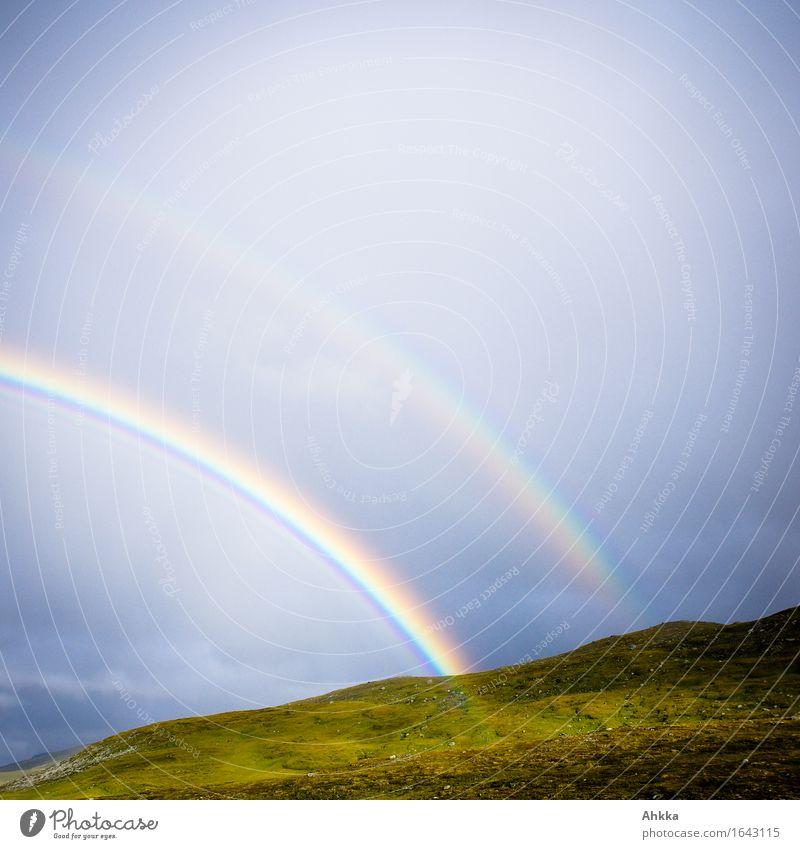 A double rainbow Nature Bad weather Rain Mountain Rainbow Illuminate In pairs Quadrant Colour photo Multicoloured Exterior shot Abstract Deserted Day Light