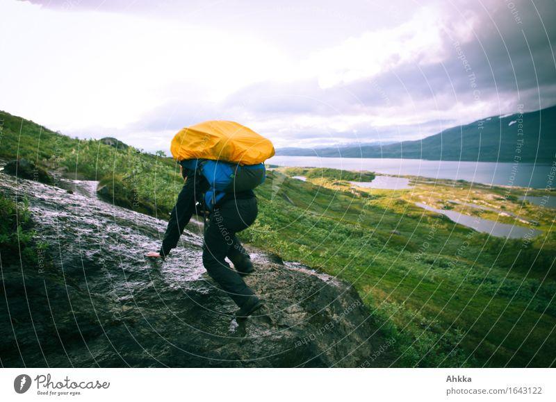 Errors III Athletic Vacation & Travel Adventure Hiking Human being 1 Nature Bad weather Rock Mountain Orange Bravery Willpower Determination Passion Effort