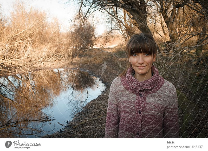 In the meadows Human being Feminine Young woman Youth (Young adults) Infancy Nature Water Autumn tree Forest Bog Marsh Pond smile Laughter luck Gloomy
