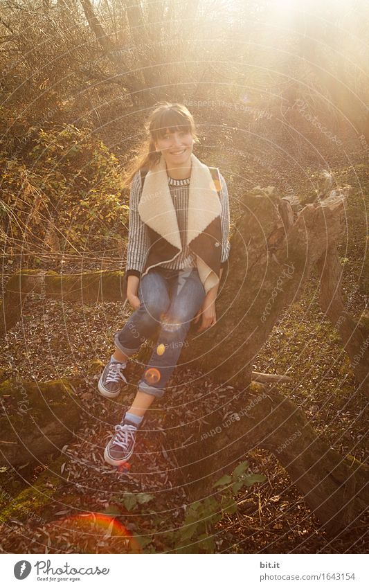 autumnal laughing... Feminine Young woman Youth (Young adults) Nature Joy luck Happiness Contentment Autumn Autumnal Colour photo Exterior shot Light