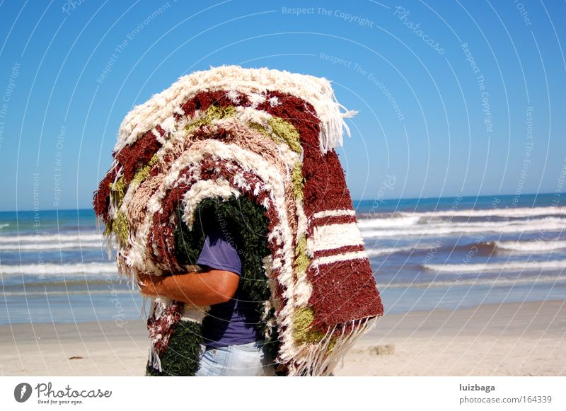 Olha Rede! Colour photo Exterior shot Morning Day Central perspective Tourism Beach Human being Masculine Man Adults 1 Work and employment Poverty Bravery Power