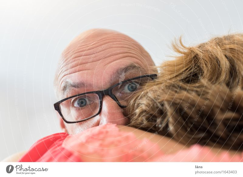 surprise Human being Masculine Feminine Woman Adults Man Couple Partner Head Hair and hairstyles Eyes 2 Blonde Bald or shaved head Looking Embrace Together