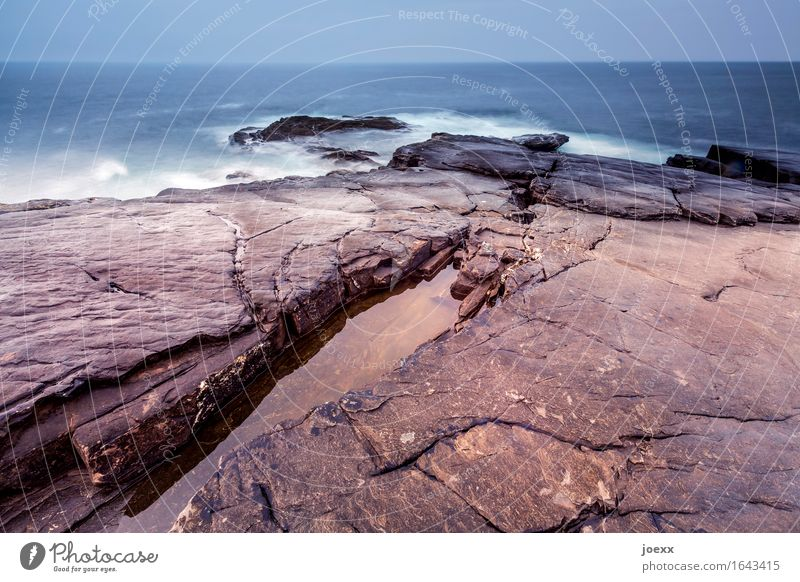 A thousand stories Elements Water Sky Horizon Weather Bad weather Rock Waves Coast Island Ireland Old Large Infinity Blue Brown White Movement Climate Nature
