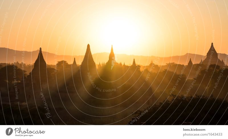 Bagan sunset Vacation & Travel Religion and faith Myanmar world temple spiritual Background picture Sunset architecture ancient sunrise pagoda landscape view