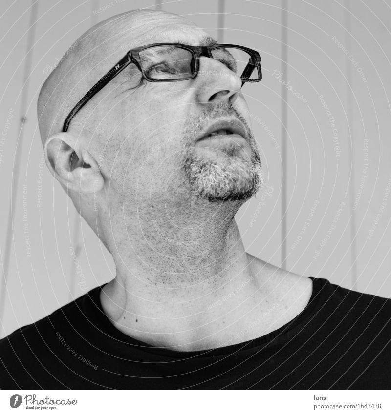 Human being Man Calm Adults Life Head Masculine 45 - 60 years Observe Eyeglasses Hope T-shirt Discover Serene Facial hair Irritation