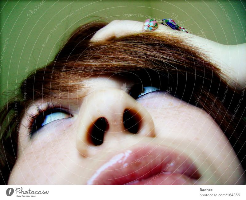 the attempt Colour photo Close-up Abstract Day Worm's-eye view Looking away Hair and hairstyles Skin Face Cosmetics Make-up Lipstick Feminine Young woman