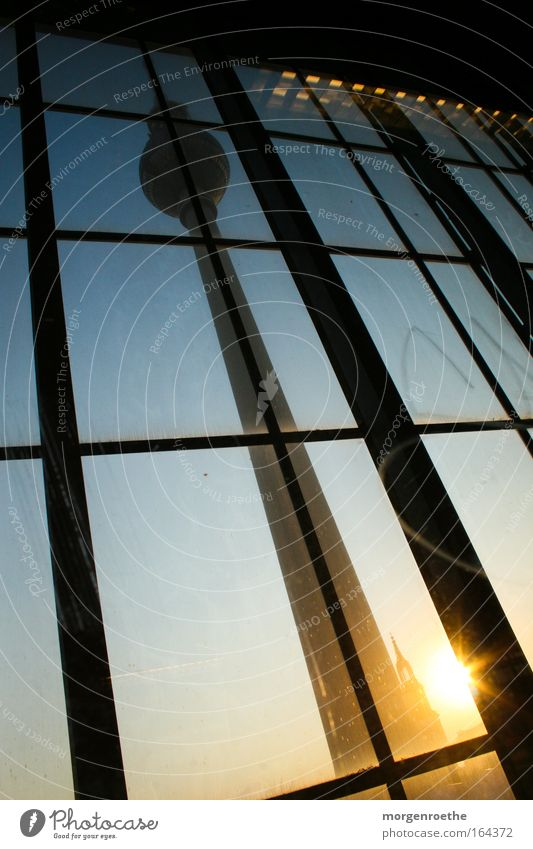 ray of hope Sunset Berlin Alexanderplatz Blue Yellow Line Berlin TV Tower Television tower Railroad Window Light Sphere