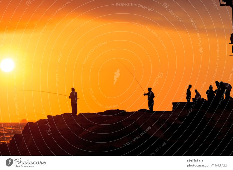 Silhouette of Men fishing on the pier Healthy Fishing (Angle) Vacation & Travel Freedom Human being 6 Nature Water Sky Ocean Harbour Yellow Gold Orange Optimism