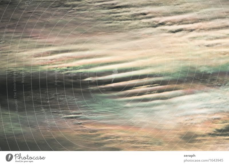 Cloudscape Cirrus fibratus iridescent Halo Background picture Multicoloured Waves Soft Pattern Structures and shapes Line Meteorology Weather Climate