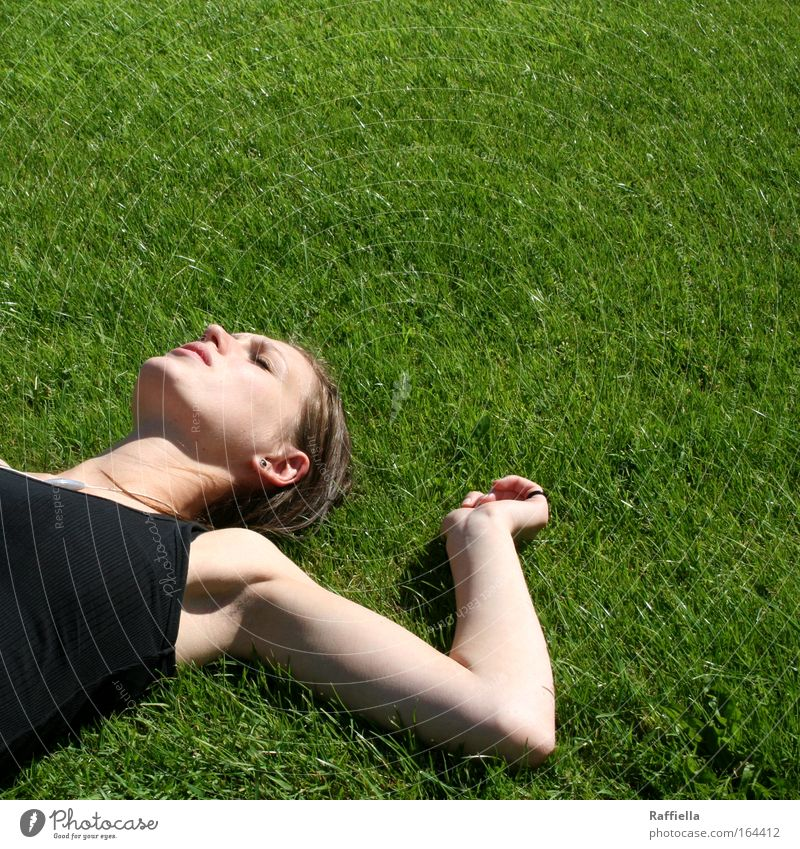 Human being Youth (Young adults) Beautiful Green Summer Face Vacation & Travel Calm Far-off places Relaxation Meadow Feminine Freedom Head Think Arm
