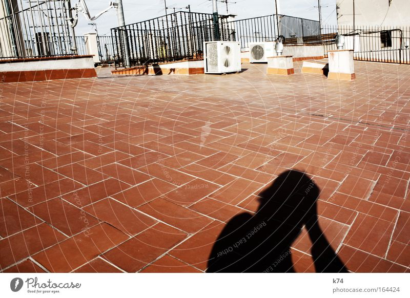 rooftop Colour photo Exterior shot Day Shadow Contrast Silhouette Sunlight Human being Masculine Man Adults Life Head Town Old town