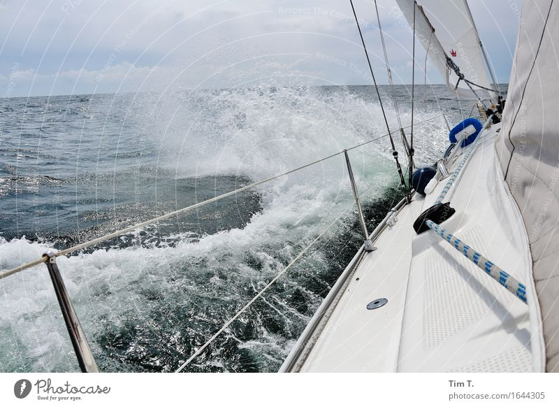 wind Lifestyle Vacation & Travel Adventure Far-off places Freedom Ocean Waves Environment Nature Water Baltic Sea Sailing Sailboat Sailing ship Colour photo