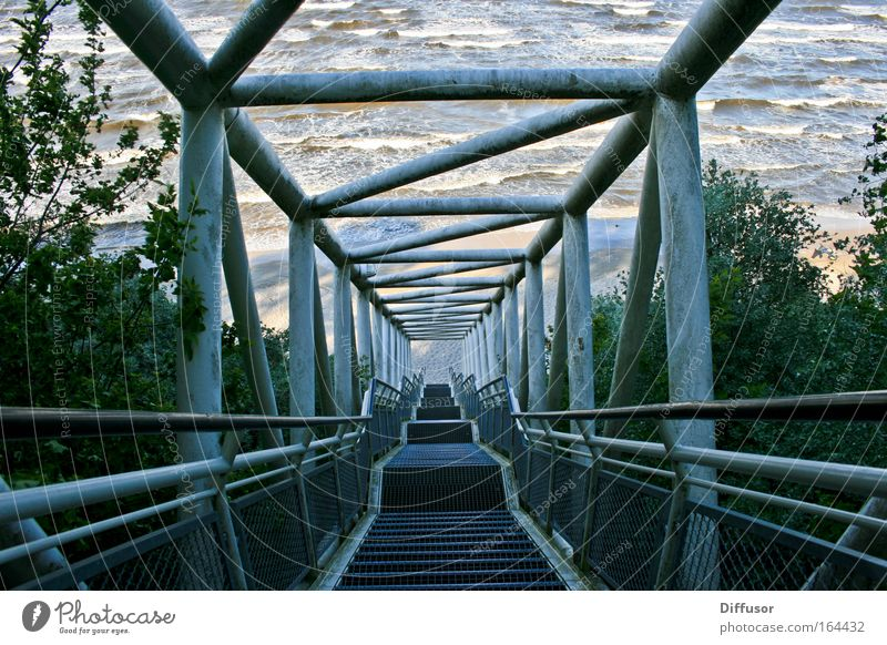 gangway Colour photo Subdued colour Exterior shot Pattern Structures and shapes Deserted Evening Light Shadow Contrast Sunlight Central perspective Nature Water