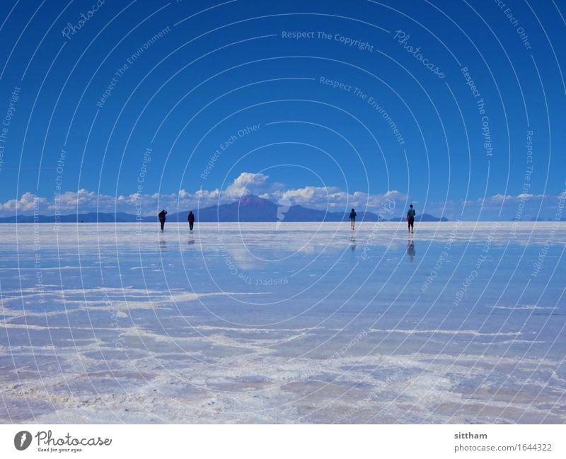 Sky Mirror, Salar de Uyuni, Bolivia Vacation & Travel Far-off places Mountain Hiking Human being 4 Nature Landscape Air Water Clouds Desert Salt flats