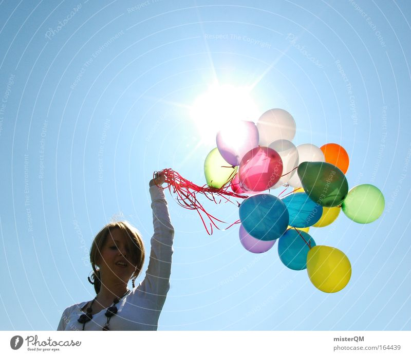 Sky Youth (Young adults) Sun Summer Joy Colour Life Feminine Freedom Happy Party Art Feasts & Celebrations Flying Fresh
