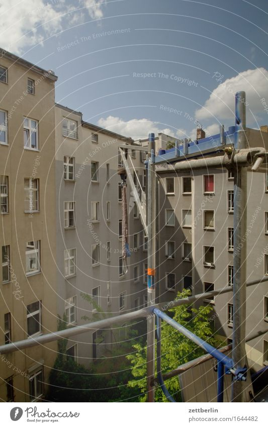 House (Residential Structure) Window Facade Copy Space Construction site Apartment Building Tower block Old building Scaffold Scaffolding Redevelop Front side