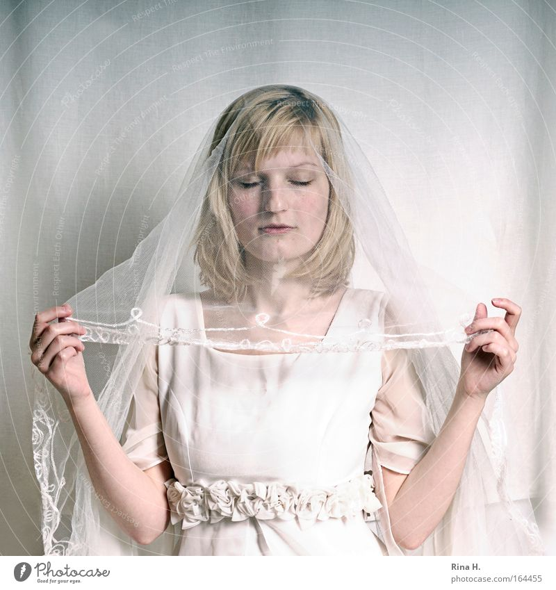 The Bride Subdued colour Copy Space top Portrait photograph Upper body Closed eyes Happy Wedding Human being Feminine Young woman Youth (Young adults) Adults 1