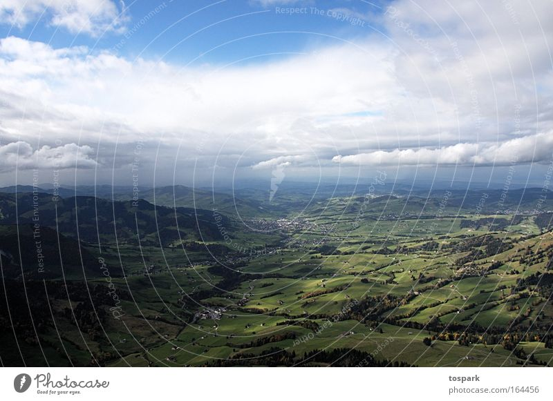 View into the valley Colour photo Exterior shot Deserted Day Light Shadow Deep depth of field Bird's-eye view Hiking Tourism Trip Summer Mountain Climbing
