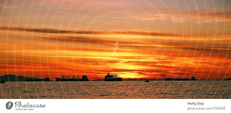 Sunset Sky Water Summer Vacation & Travel Ocean Clouds Coast Watercraft Horizon Large Logistics Beautiful weather Canada Sunrise Panorama (Format)