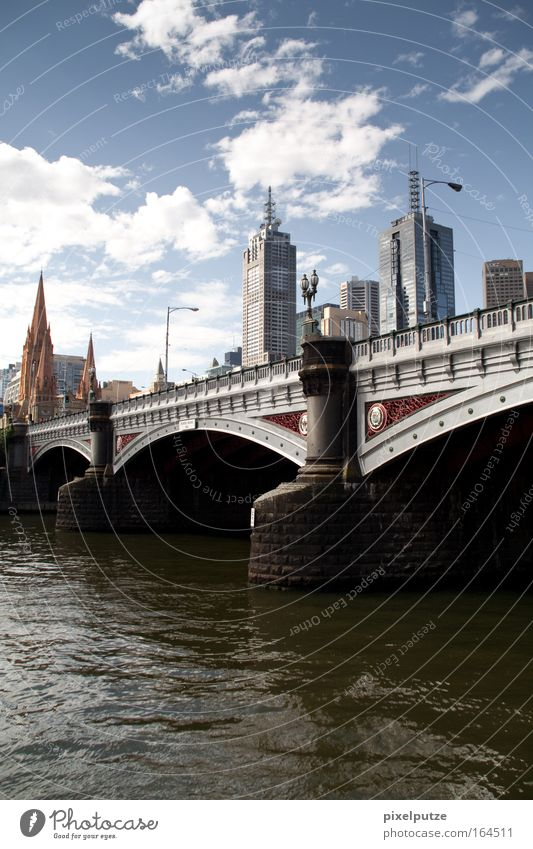 Melbourne Australia Downtown Skyline Deserted High-rise Bank building Dome Bridge Manmade structures Building Architecture Tourist Attraction Landmark Monument