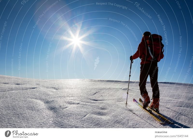 Ski mountaineer walks up hill on a glacier. Human being Sky Nature Vacation & Travel Man Blue Sun Landscape Red Loneliness Winter Mountain Adults Snow Sports
