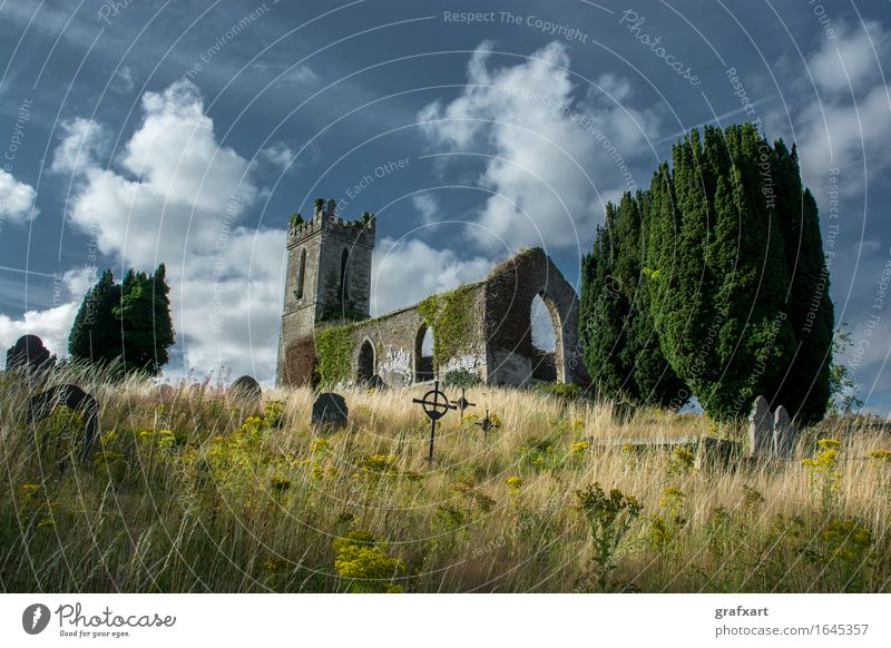 Ruin of an old church with cemetery in Ireland Church Church spire Cemetery Tombstone Old Loneliness End Memory Peaceful Remember Past Grave Hill Chapel