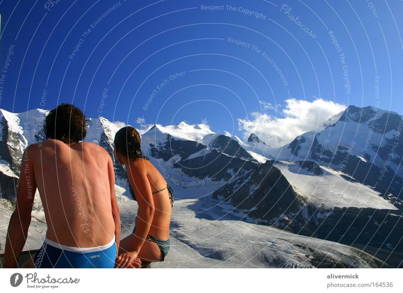 Human being Woman Man Nature Joy Adults Relaxation Environment Feminine Snow Mountain Weather Contentment Back Rock Leisure and hobbies