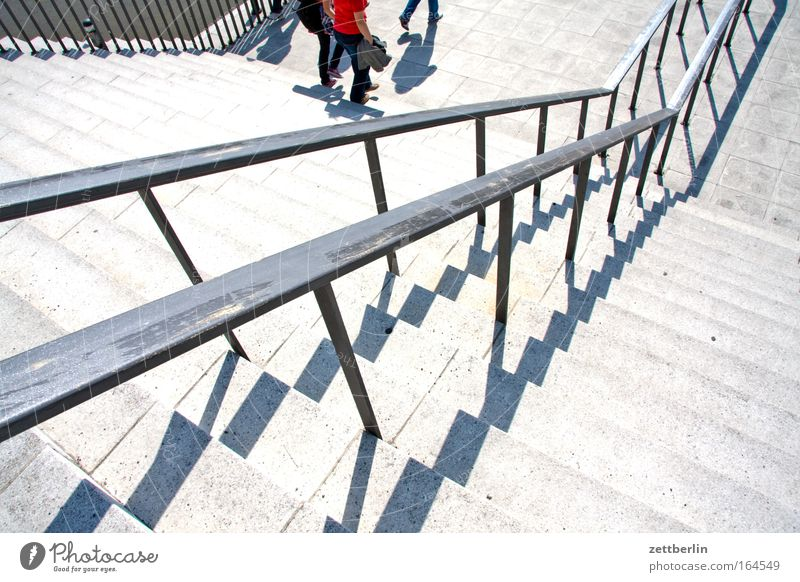 staircase Stairs Stage Level Ascending Descent Go up Steps Handrail Banister Sun Shadow Summer Career Crazy Upward Downward Landing Legs Footwear Visitor Tilt