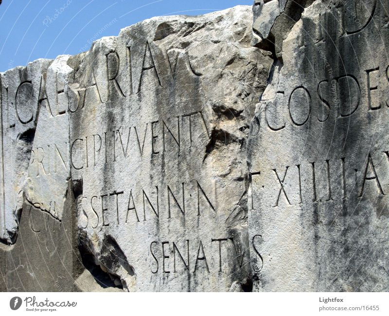 Caesarius Forum Romano Rome Italy Senate Text Relief Historic Old Marble Inscribe Stone Sky Blue Human being