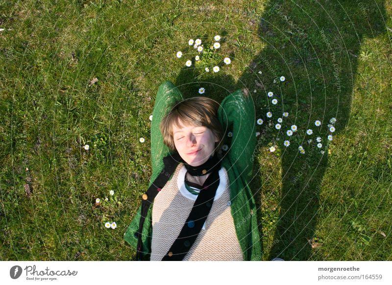 sunbath Green Woman feminine Daisy Meadow Sun Shadow coziness Summer Nature
