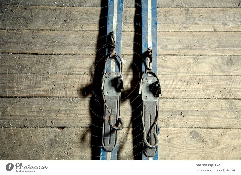 Old Blue Gray Retro Skis Partially visible Section of image Retro trash